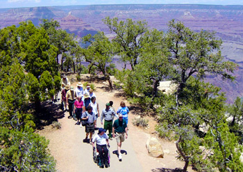 Chuck Flink leads a walk along the newly opened phase of the Grand Canyon Greenway.